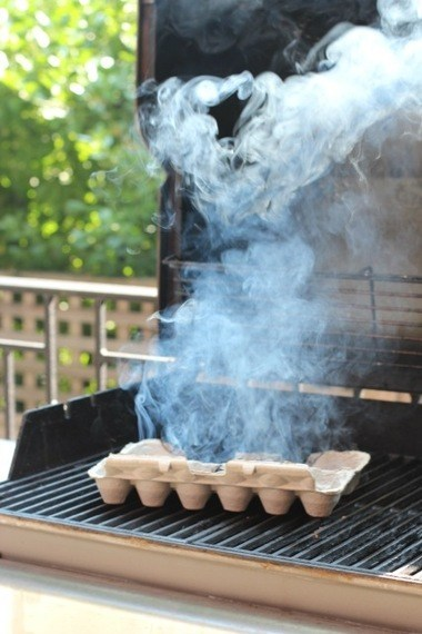 Keep mosquitoes away from your summer party by burning an egg carton on the grill. #summer #bbq