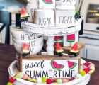 cute watermelon themed tiered tray for summer