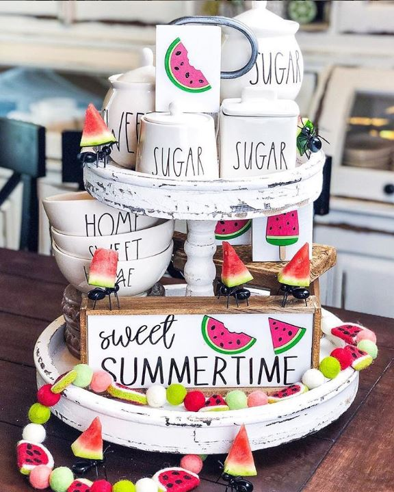 summer watermelon themed tray - 9 Stunning Watermelon Themed Tiered Tray Ideas