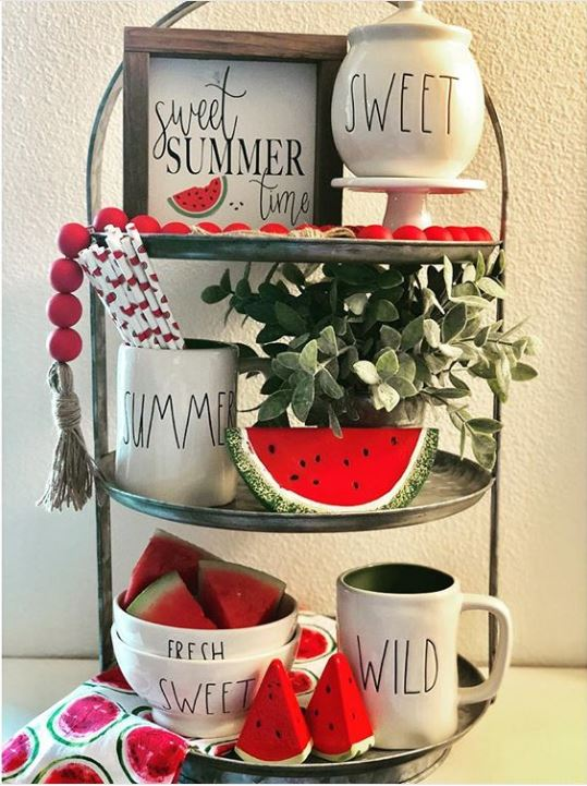 watermelon tray - 9 Stunning Watermelon Themed Tiered Tray Ideas