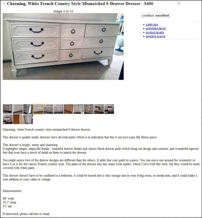 furniture craigslist ad - How to Flip Thrift Store Furniture for Profit