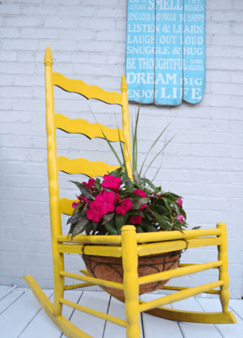 yellow rocker planter front porch decor summer - 7 Cheap and Easy DIY Porch Decor Ideas for Summer