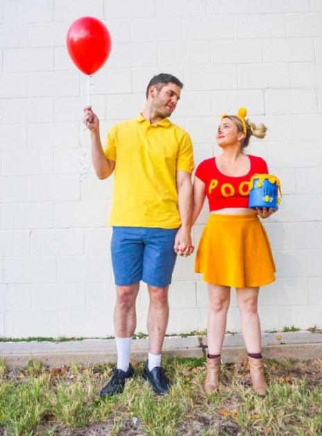 winnie the pooh halloween costume - 50 Best Couples Halloween Costume Ideas for 2019