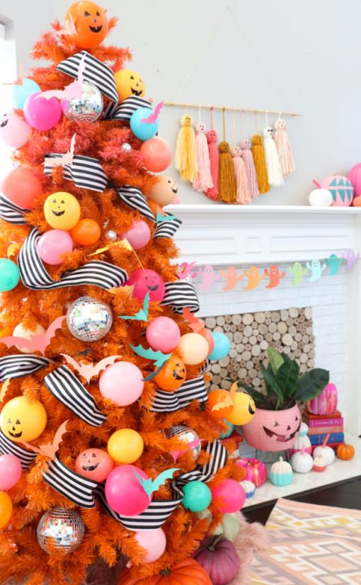 disco balls halloween tree - 18 Best Halloween Christmas Tree Decorating Ideas for 2019