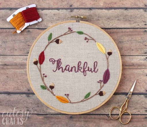 diy thankful embroidery hoop - 30+ Fall Craft Ideas to Make and Sell for Extra Money