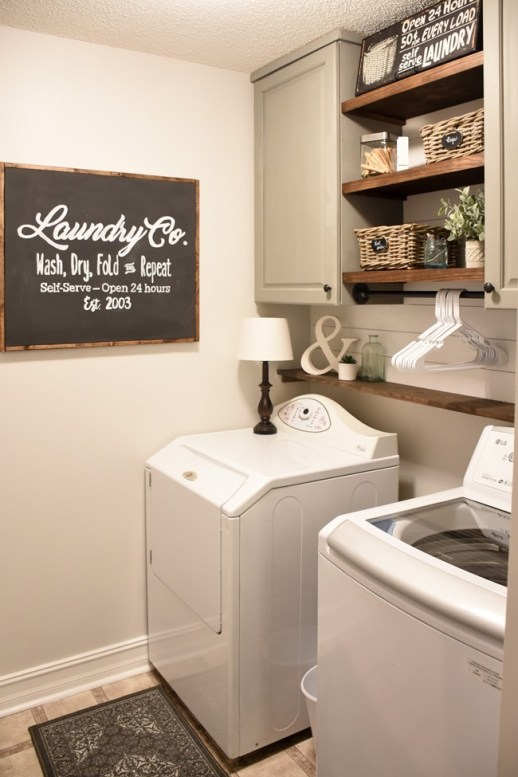 farmhouse laundry room - 18 Cheap and Easy DIY Rustic Farmhouse Home Decor Ideas
