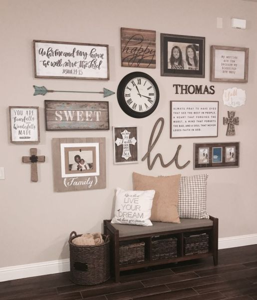 farmhouse wall collage - 18 Cheap and Easy DIY Rustic Farmhouse Home Decor Ideas