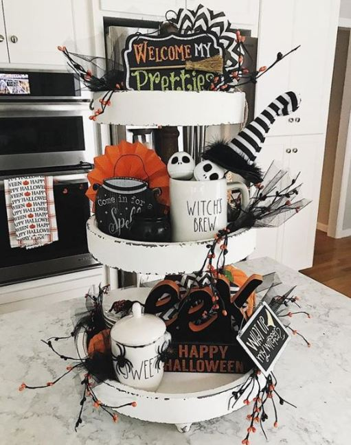 halloween tiered tray decor 13 - 19 Fabulous Halloween Tiered Tray Decor Ideas