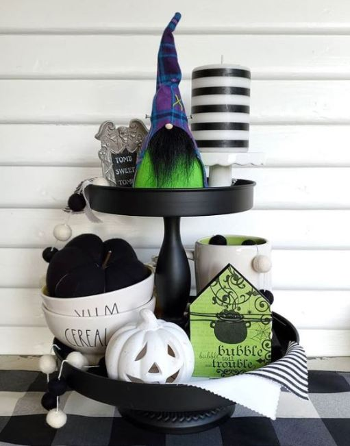 halloween tiered tray decor 7 - 19 Fabulous Halloween Tiered Tray Decor Ideas