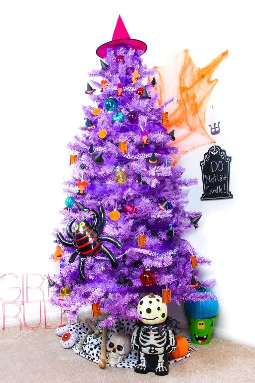 purple halloween tree - 18 Best Halloween Christmas Tree Decorating Ideas for 2019