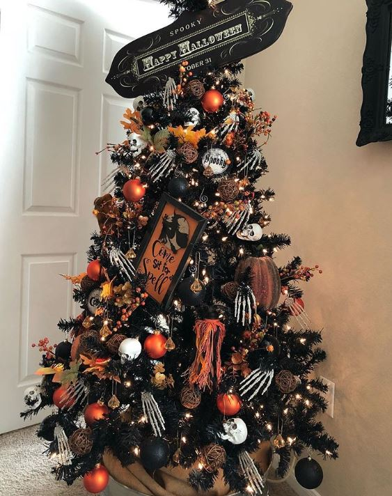 skeleton halloween tree - 18 Best Halloween Christmas Tree Decorating Ideas for 2019