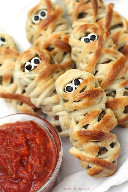 halloween party food meatball mummies - 15 Most Brilliant Halloween Party Food Ideas