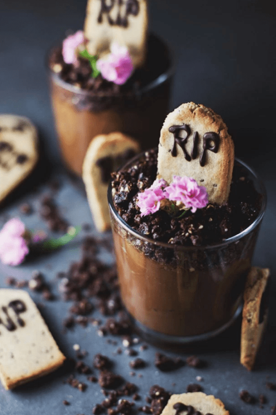 halloween sweets graveyard mousse cups - 15 Most Brilliant Halloween Party Food Ideas