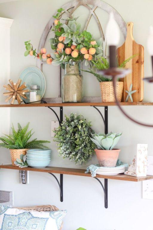 Peach decor on shelf