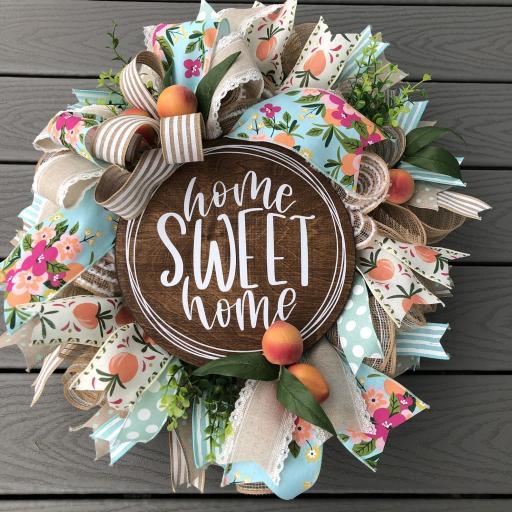Peach front door wreath