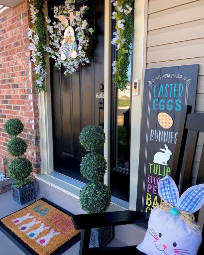 spring Easter front porch décor