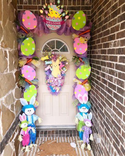 Easter spring front door decor