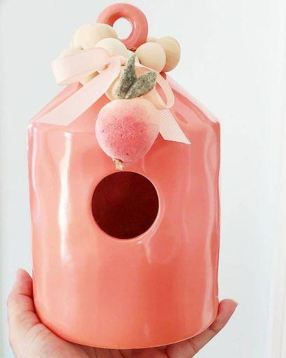 Ceramic Peach Birdhouse
