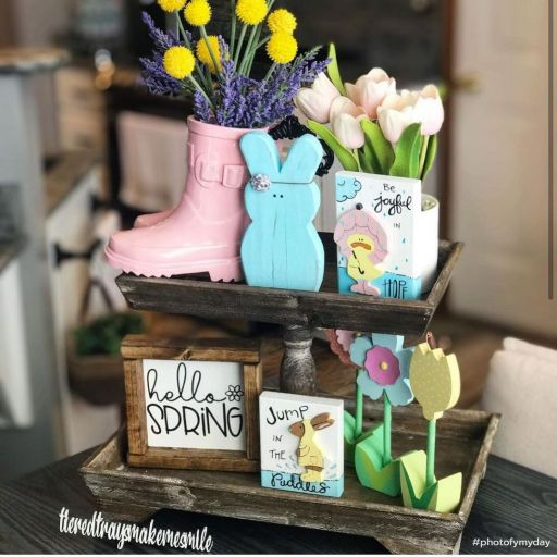 Rustic spring easter tiered tray