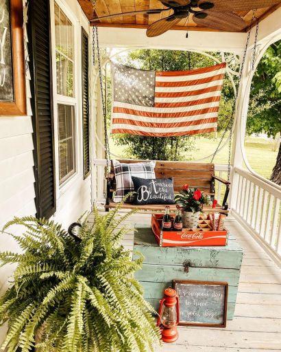 patriotic front porch decor