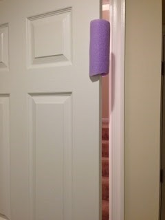 Save little fingers from the dreaded door slam with a simple pool noodle. Cut a slit in the noodle and slide it over the side of the door. | Toddler Parenting Hacks