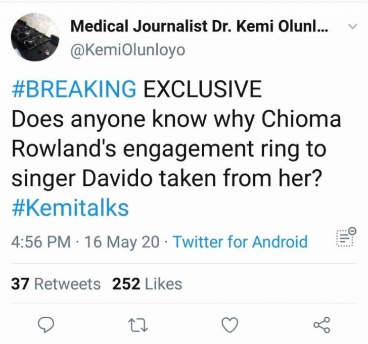 Davido Has Collected Back Chioma's Engagement Ring From Her, Says Kemi Olunloyo 2