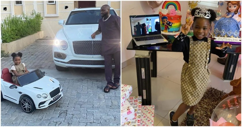 Davido's daughter Imade shows off car gift from him, drives around his compound with joy (video) 1