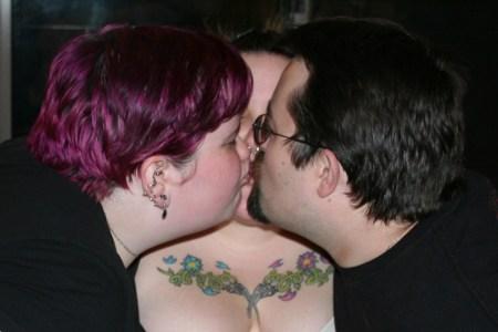 three-way kiss