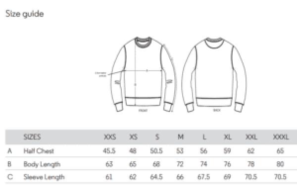 Guide des tailles sweatshirt