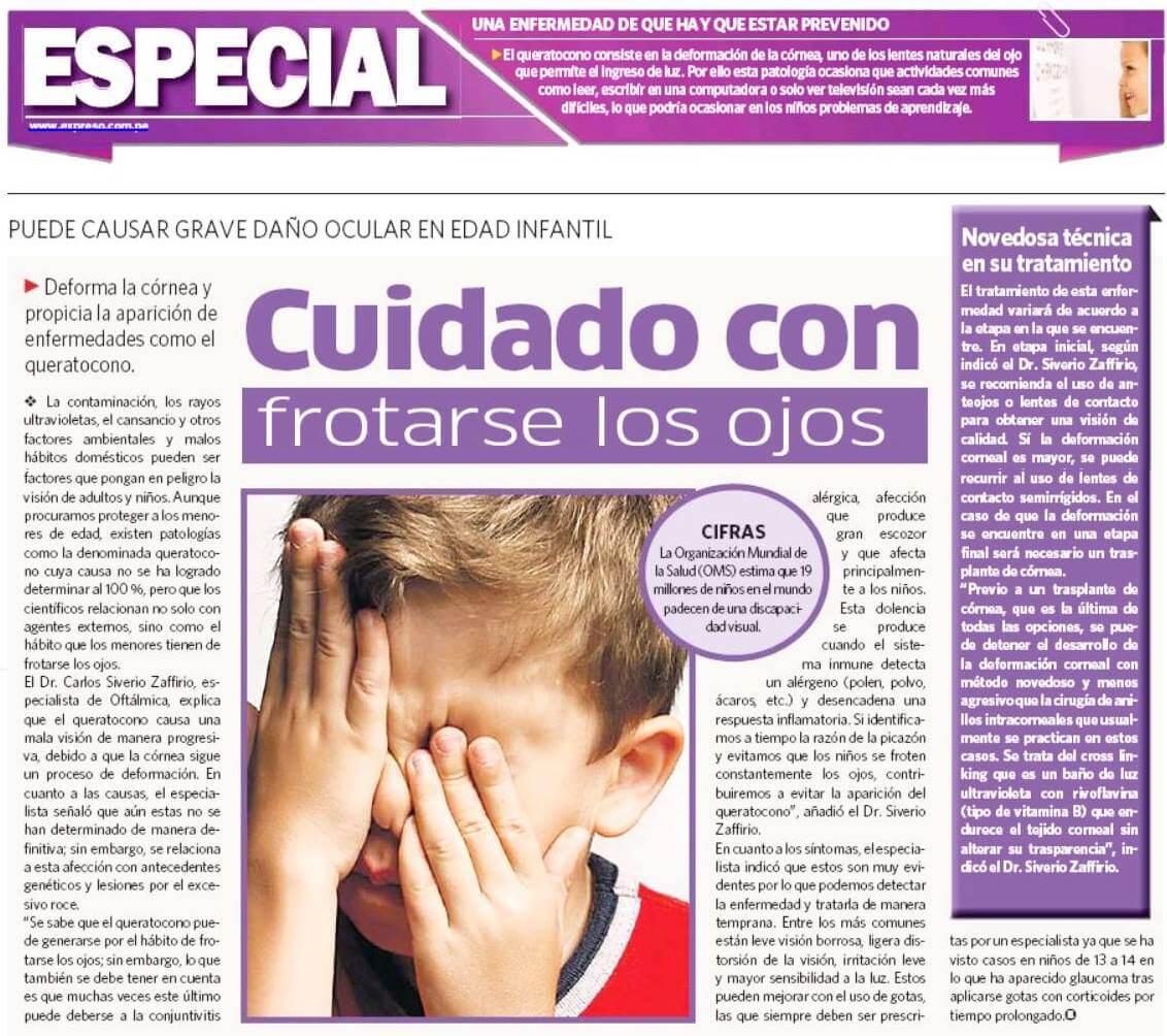 Cuidado con frotarse los ojos puede causar grave daño ocular en la edad infantil