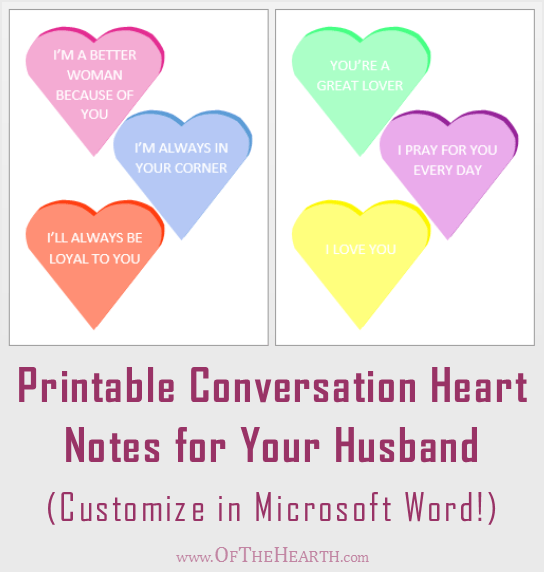 graphic regarding Printable Conversation Hearts named Printable Sweet Centre Encouragement Notes