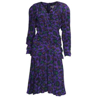 Lanvin 1980s Silk Ball Print Purple Vintage Midi Dress   Open for     Lanvin 1980s Silk Ball Print Purple Vintage Midi Dress