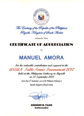 Certificate of Appreciation (ASEAN Table Tennis Tournament)