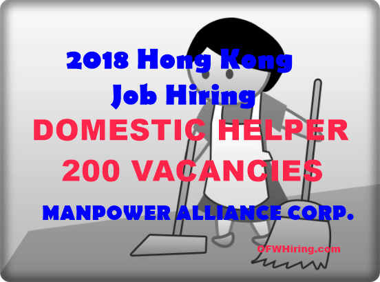 Hong Kong Job Hiring 2018 For Domestic Helper Ofw Hiring