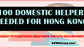 Domestic Worker Job Opening For Singapore Ofw Hiring