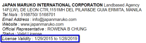 JAPAN_MARUKO_INTERNATIONAL_CORPORATION_License_Validity