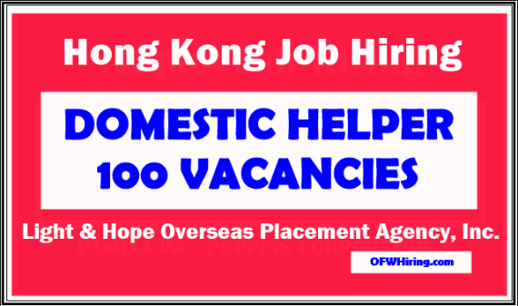 Hongkong Domestic Helper Job Opening 2019 Ofw Hiring