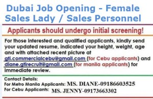 Dubai job opening for sales lady