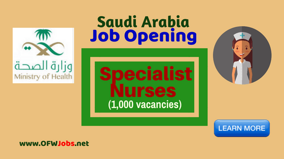 Specialist Nurses Job Hiring Saudi Arabia Ministry of Health