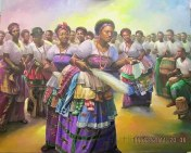 Painting of Itsekiri Omoko dancers, Warri