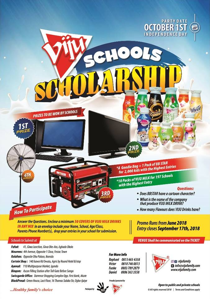 DON'T LET YOUR SCHOOL MISS OUT AT THE VIJU SCHOOL SCHORLARSHIP