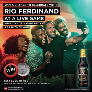 WIN AN EXTRAORDINARY EXPERIENCE WITH RIO FERDINAND #GUINNESS