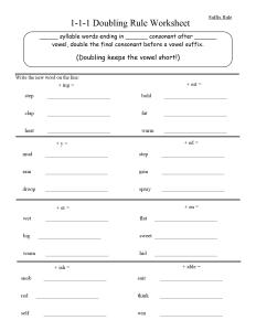 1-1-1 doubling rule worksheet