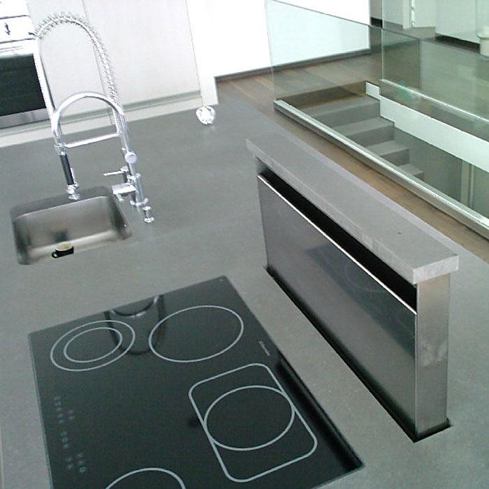 OGGI-Beton: Küchenarbeitsplatte, Detail