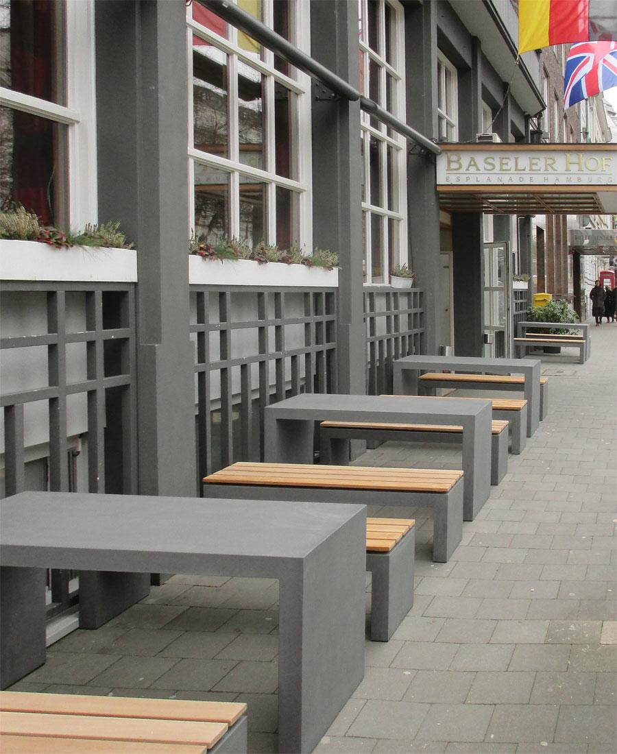 OGGI-Beton: Betonmöbel, Tisch und Bank