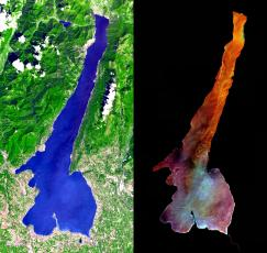 Il Lago di Garda visto dall'alto (NASA/GSFC/METI/ERSDAC/JAROS, and U.S./Japan ASTER Science Team)