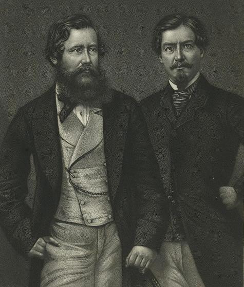 John H. Speke (sx.) e James A. Grant in un'illustrazione tratta da burtoniana.org