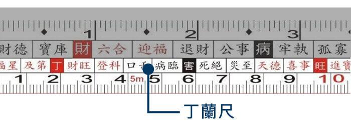 捲尺的下排為陰宅用的丁蘭尺