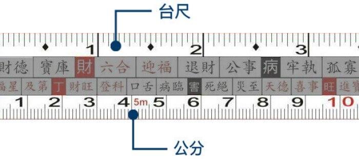 魯班尺有分為上下兩種尺寸,上方為台尺,下方為公分