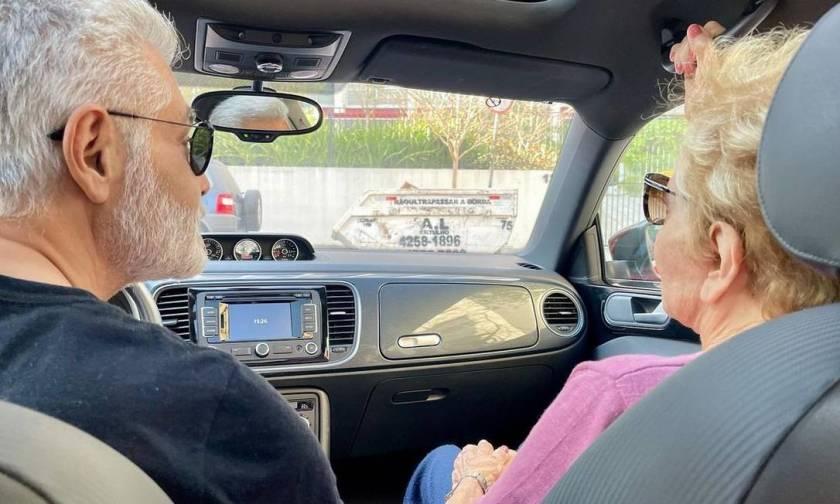 Glória Menezes takes a car ride with her son Tarcisinho Photo: Reproduction / Instagram